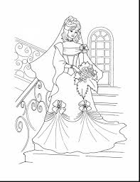 Fantastic Wedding Dress Coloring Pages With Princess Printable And Ariel