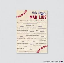 Halloween Mad Libs Pdf by Baseball Baby Shower Mad Libs Printable Baby Shower Advice