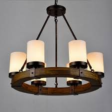 LightInTheBox Vintage Old Wood Wooden Chandeliers Painting Finish Country Rustic Pendant Uplight Chandelier Lighting Lamp For Dining Room