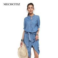 MECHCITIZ 2017 Spring Denim Dress Plus Size Half Sleeve Womens Dresses Fashion Trends Long Ladies Casual Party In From
