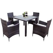 LZ LEISURE ZONE 5 Pieces Patio Dining Set Outdoor Rattan Dining Furniture  Sets Garden Conversation Set With 4 Wicker Chairs And Glass Table Modway Endeavor Outdoor Patio Wicker Rattan Ding Armchair Hospality Kenya Chair In Black Desk Chairs Byron Setting Aura Fniture Excellent For Any Rooms Bar Harbor Arm Model Bhscwa From Spice Island Kubu Set Of 2 Hot Item Hotel Home Office Modern Garden J5881 Dark Leg