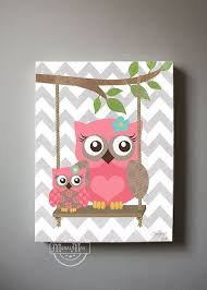 Large Owl Canvas Decor For Baby Room Girls Wall Art Nursery
