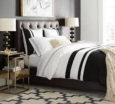 Pottery Barn Master Bedroom by Lorraine Low Leather Bed King Charcoal Gray Organic Duvet