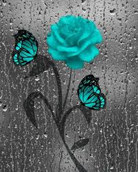 teal gray butterfly decorative bathroom by