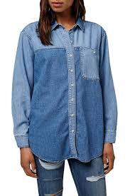 TOPSHOP Elton Colorblock Denim Shirt
