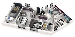les 3 chambres plan de maison simple 3 chambres en 3d