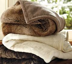 Pottery Barn Faux Fur Throw Blanket Frosted Taupe NWTs