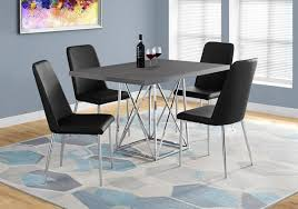 36X 48 Grey Chrome Metal Dining Table