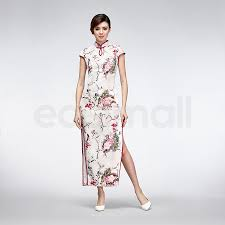white silk oil painting style floral modern qipao long chinese