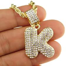Bubble Letter K Gold Rope Chain 24
