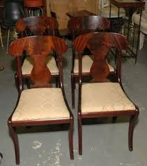 Item 9 Beautiful Set Of Four Empire Style Mahogany Dining Room Chairs Made By BIGGS Furniture Richmond Virginia Featuring Urn Form Back Splats And