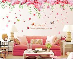 amazon com wall decal pink flowers blue butterflies home sticker