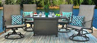 Gensun Patio Furniture Cushions by Michigan 5 Piece Woven Cast Aluminum Patio Dining Set By Gensun