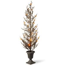 National Tree Company 46 In Black Glittered Halloween With Lights