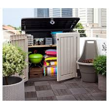 Keter Storage Shed Shelves by Store It Ot Midi Resin Horizontal Outdoor Storage Shed Beige