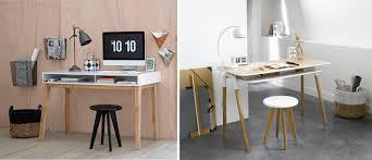 bureau stylé petit bureau scandinave petit bureau annes en teck brun tiroirs