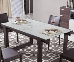 J&M E537T Contemporary Brown Oak Finish W Extendable Grey Glass Top