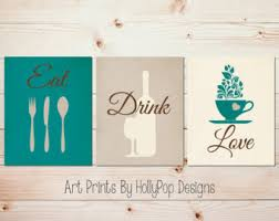 Teal Kitchen Decor Modern Art Set Wall Prints Fork Spoon Knife Quote Coffee