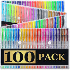 100 Gel Pens Set Pen Glitter Neon Metallic Color Art Coloring Books Colors Craft