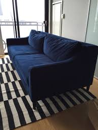 grand paidge west elm sofa in navy velvet in south loop cook