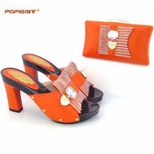 Global Free DHL Express Lady Orange Evening Shoes And Bag Set Summer Fashion Simple Design Pumps