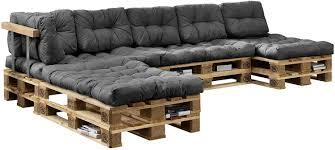 en casa auflagen für paletten sofa 4x sitz 6x rückenkissen grau kissen