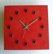 details zu design glas rot funk wanduhr esszimmer wohnzimmer küche uhr silber modern büro