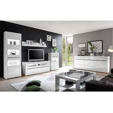 tv lowboard inkl wandregal cogo 61 in weiß hochglanz und griffmulde betonoptik bxhxt 150x135x42cm
