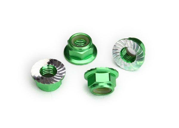 Traxxas 8447g Green Serrated Aluminum 5mm Flanged Nylon Locking Nuts