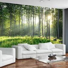 großhandel benutzerdefinierte fototapete 3d green forest natur landschaft große wandbilder wohnzimmer sofa schlafzimmer moderne wandmalerei home decor