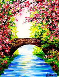 Landscape Drawing Easy Paintings Acrylic Nature Art Bridge Painting Spring
