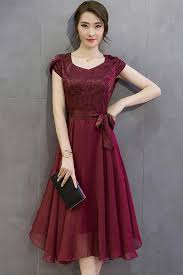 unomatch women silk printed top bow waist prom dress red vine