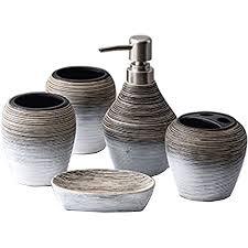 füllemore badezimmer set luxuriöses 5 teiliges badset keramik badezimmer zubehörset seifenspender zahnbürstenhalter zahnpastahalter seifenschale 2xza