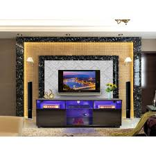Glossy TV Cabinet Stand RGB Led Light 3 Colours BA0010