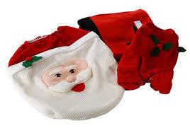 weihnachtsdeko badezimmer wc set toiletten sitzbezug santa