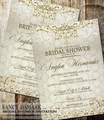 Damask Bridal Shower Invitation Rustic Vintage Wedding