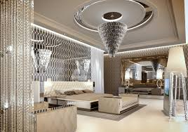 Modern Crystal Bedroom Chandelier And Mirrored Artwork Above Bed Full Size