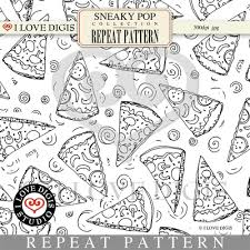 Sneaky Pop Repeat Pattern 15 Pizza BW