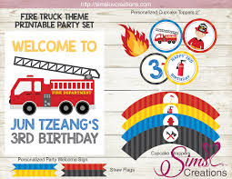 100 Truck Birthday Party Supplies FIRE TRUCK PARTY PRINTABLES KIT FIREFIGHTER BIRTHDAY PARTY