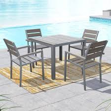 corliving pjr 573 z2 gallant sun bleached grey outdoor dining set