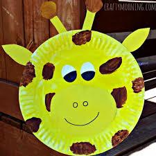 Giraffe Paper Palte Crafts Kids