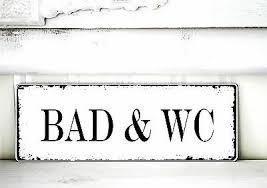 shabby schild vintage bad wc nostalgie weiß tafel