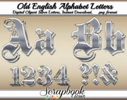 Old English Silver Letters Numbers Digital Clipart 68 High Quality PNG Files Instant