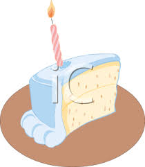 Slice of Birthday Cake with e Candle Royalty Free Clip Art Illustration