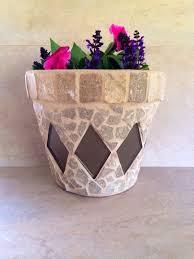 Mosaic Planter Large Flower Pot Rustic Plant By MoZEHicDesigns