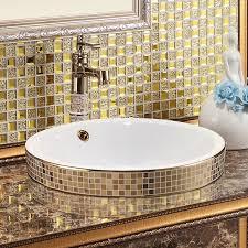 keramik kunst waschbecken für badezimmer gold mosaik keramik runden semi arbeitsplatte waschbecken kunst becken mit überlauf