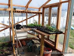 greenhouse wooden planter boxes and soil sink potting bench idea