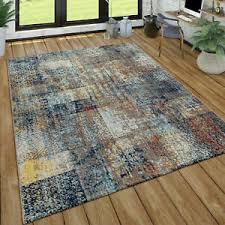 kurzflor teppich wohnzimmer used look patchwork industrie