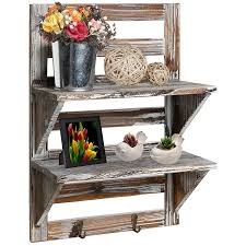 Amazon MyGift Rustic Wood Wall Mounted Organizer Shelves W 2 Hooks Tier Storage Rack Brown Home Kitchen