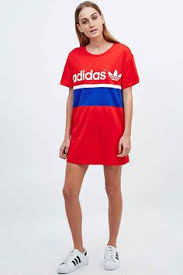 Adidas City Tee Dress In Red